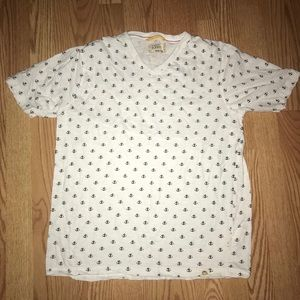 Medium Men's Anchor Shirt. White with navy anchors